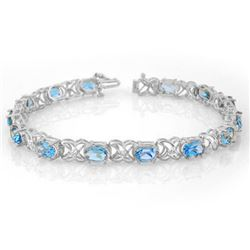 13.55 CTW Blue Topaz & Diamond Bracelet 14K White Gold - REF-85Y5N - 10573