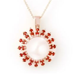 1.50 CTW Red Sapphire & Pearl Necklace 14K Rose Gold - REF-47W6H - 11742