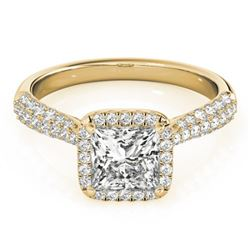 1.15 CTW Certified VS/SI Princess Diamond Solitaire Halo Ring 18K Yellow Gold - REF-163R6K - 27095