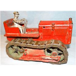 "Arcade cast iron toy crawler w/ steel tracks, 7.5"" long"