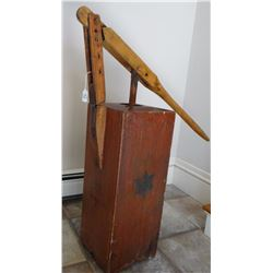 Atmospheric 1865 square wooden  butter churn, pump handle style