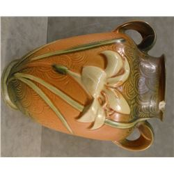 "Roseville Zephur Lily brown vase, #134-8"", 2 chips on rim"