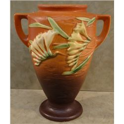 "Roseville Freesia brown vase, #121-8"", 1945, 3 small chips on base,"