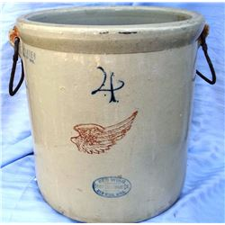"Red Wing 4 gal crock w/wire handles, 4"" wing"