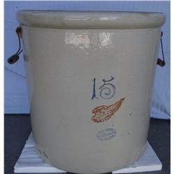 "Red Wing 15 gal crock, 4"" wing, wire handles, 2 chips"