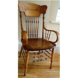 Oak pressed back arm chair