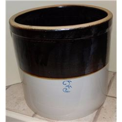 3 gal brown top salt glaze crock