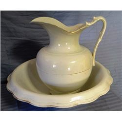 W. S. George pitcher and bowl set, small chip