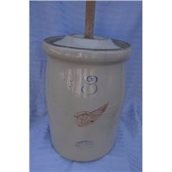 "Red Wing 3 gal. churn w/lid, 4"" wing, sm. Chip"