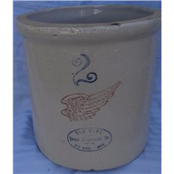 "Red Wing 2 gal crock, 4"" wing, 2 chips on bottom"