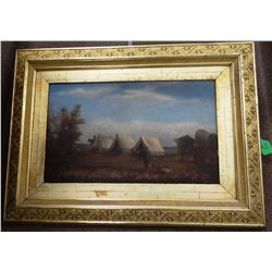 "Vintage oil painting on canvas, Cavalry Camp with Indians, 13"" x 21"", framed"
