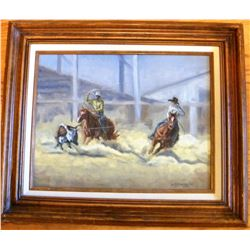 Original rodeo oil painting completed in 1985 by J. C. Alexander