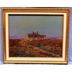 "Cheek, C. R. original oil, Welcoming Committee, 16"" h x 20"" w, signed & framed"