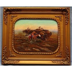 "Cheek, C. R. original oil, Buffalo Hunt, 12"" x 14"", signed & framed"