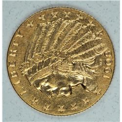 Gold 1908 $2½ Indian Head MS62+