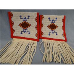 Beaded arm bands w/ buckskin fringe, newer