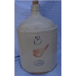 "Red Wing 3 gal jug, 4"" wing, mint"