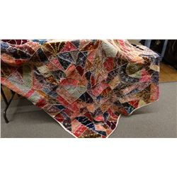 "Hand embroidered velvet crazy quilt, 74"" x 64"""