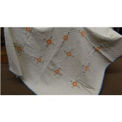"Fancy quilt, white / peach, hand quilted &  hand embroidered, 72"" x 96"""