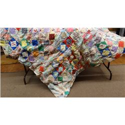 "Patchwork squares quilt, tied, older, 84"" x 64"""