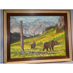 "Bull Plume, Dan, orig. oil painting, 18"" x 24"", framed, 2 Grizzlies"
