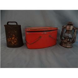 "Tin lunch pail and Feuer No. 75 lantern,  6 1/2"" and cowbell"