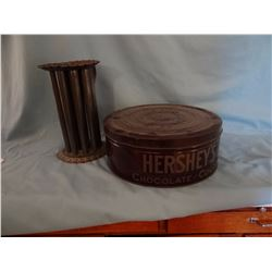 "Hershey's Chocolate 12"" tin w/ lid and tin candle maker"