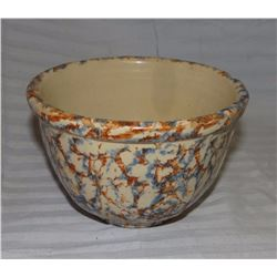 "Spongeware bowl, blue/brown, 9""; Columbia salt glaze bowl, mint"