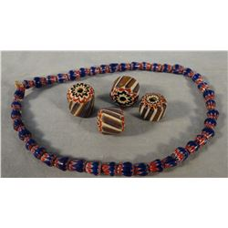 Small Indian trade beads, 4 single beads