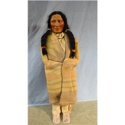 "Indian doll, 16"" t, w/ wool blanket"