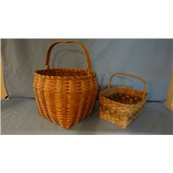 2 woven wood baskets, carved handles