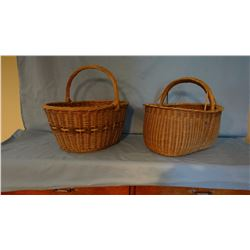 2 woven wood baskets, carved handles, ratan