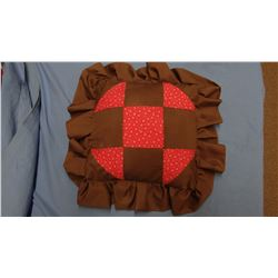 Patchwork pillow, browns and reds