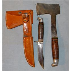 Western hunting knife and hatchet set