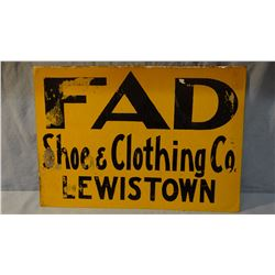 Metal adv sign, The Fad Shoe & Clothing, Lewistown, MT