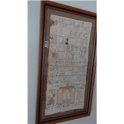 1846 needle point sampler, Sarah Green Clinton, framed, 9  x 14