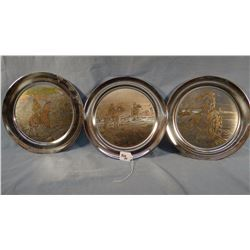 3 CMR Reed Barton Collector silver plated plates, The Out Post, Toll Collector, Trapper, s#1918