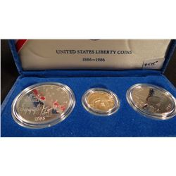 Statue of Liberty proof set, 3 coins including $5 gold piece