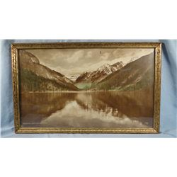 Vintage photo, McDonald Lake, Mission Range Mtns., Montana, by JW Robe, 12  x 20 , framed