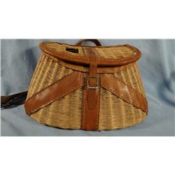 Wicker and leather creel, nice