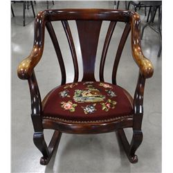 Fancy mahogany bent wood rocker, needle point seat. Very nice.