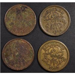 4-CIVIL WAR TOKENS FROM TROY NEW YORK
