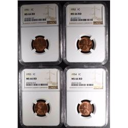 1951, 52, 53 & 54 LINCOLN CENTS, NGC MS-66 RED