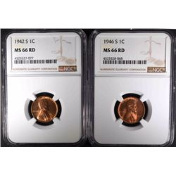 1942-S & 1946-S LINCOLN CENTS NGC MS66 RD