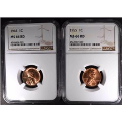1944 & 1955 LINCOLN CENTS NGC MS66 RD