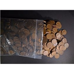 (1000) MIXED DATE CIRC LINCOLN WHEAT CENTS 1920'S