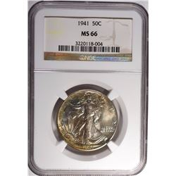 1941 WALKING LIBERTY HALF DOLLAR NGC MS 66