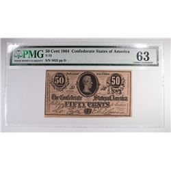1864 50 CENT CONFEDERATE STATES OF AMERICA PMG 63