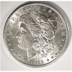 1889-S MORGAN SILVER DOLLAR, CH BU+  SEMI KEY
