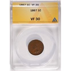 1867 INDIAN HEAD CENT ANACS, VF 30 NICE